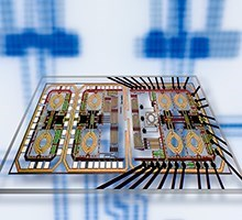 Quadrature up-converter chip (Photo: DTU Elektro)